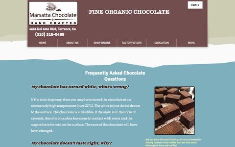 Screenshot of FAQ Page marsatta.com - Marsatta Chocolate Los Angeles | Vegan Organic Chocolate | Bean To Bar | FAQ's - captured Nov. 18, 2016