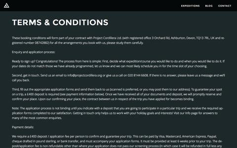 Screenshot of Terms Page projectcordillera.org - Terms & Conditions - Project Cordillera - captured Dec. 5, 2015