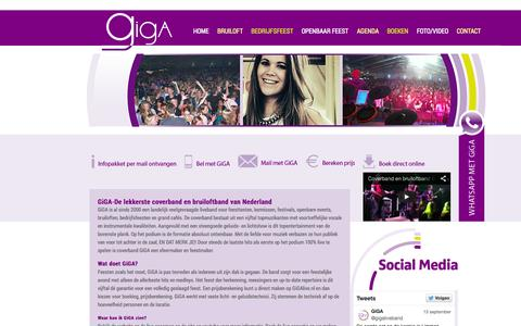 Screenshot of Home Page gigalive.nl - Coverband GiGA - de lekkerste coverband en bruiloftband van Nederland - captured Oct. 2, 2014