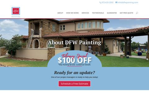 Screenshot of About Page dfwpainting.com - About DFW Painting, Interior and Exterior Painters in the Dallas Metroplex | DFW Painting - captured Feb. 20, 2020