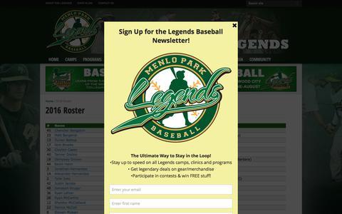 Screenshot of Team Page menloparklegends.com - 2016 Roster - Legends Bay Area Baseball Camps - captured Nov. 28, 2016