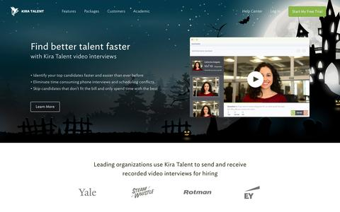 Screenshot of Home Page kiratalent.com - Online Video Interviews | Video Interviewing Made Easy - Kira Talent - captured Oct. 22, 2015