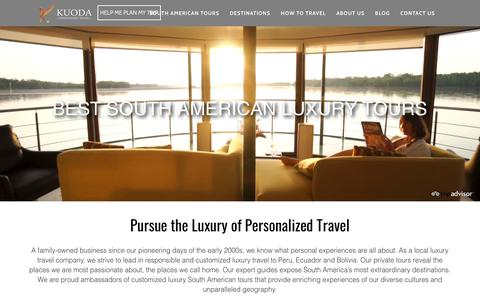 Screenshot of Home Page kuodatravel.com - South American Luxury Tours - Top Travel Agents | Kuoda Travel - captured Sept. 20, 2018