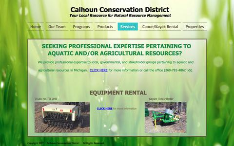Screenshot of Services Page calhouncd.org - Calhoun Conservation District | Services - captured July 11, 2017