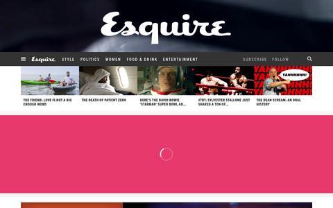 Screenshot of Home Page esquire.com - Esquire - Men's Fashion, Cocktails, Politics, Interviews, and Women - captured Feb. 4, 2016