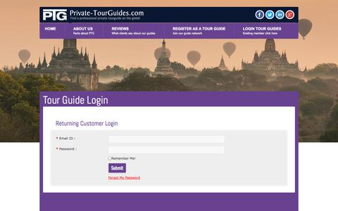 Screenshot of Login Page private-tourguides.com - Private Tourguides - Tour Guide Login - captured Sept. 30, 2014