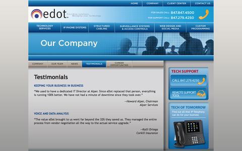 Screenshot of Testimonials Page edotsolutions.com - eDot - captured Feb. 2, 2016