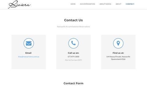 Screenshot of Contact Page noosariviera.com.au - Contact - captured July 1, 2018