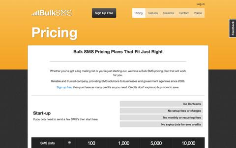 Screenshot of Pricing Page bulksms.com.au - Get Bulk SMS Pricing - BulkSMS Australia - captured Nov. 16, 2016