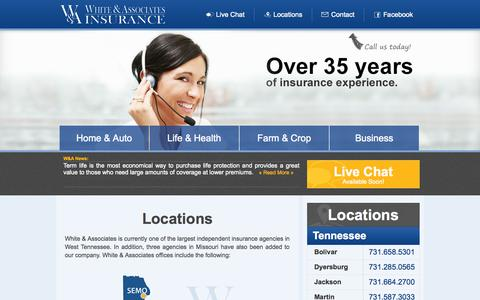 Screenshot of Contact Page Locations Page whiteandassociates.net - Locations - White & Associates - captured Oct. 26, 2014