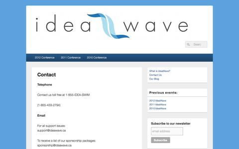 Screenshot of Contact Page ideawave.ca - Contact – IdeaWave - captured July 26, 2018