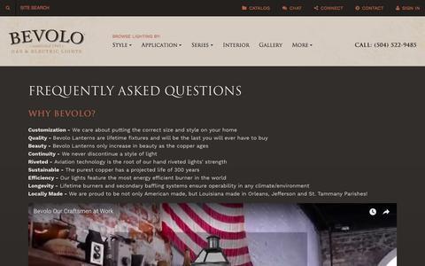 Screenshot of FAQ Page bevolo.com - FAQ | Bevolo Gas & Electric Lighting - captured Oct. 10, 2017