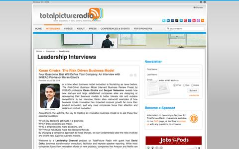 Screenshot of Team Page totalpicture.com - Leadership Interviews | TotalPicture Radio | Podcast Career Advice and Leadership Development - captured Oct. 7, 2014