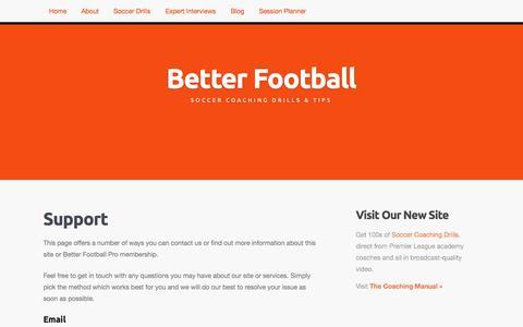 Screenshot of Support Page betterfootball.net - Support | Better Football - captured Oct. 5, 2014