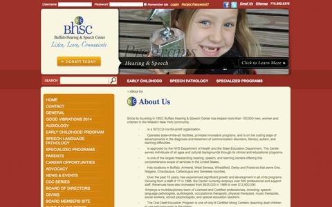 Screenshot of About Page askbhsc.org - About Us: Buffalo Hearing & Speech - captured Oct. 5, 2014