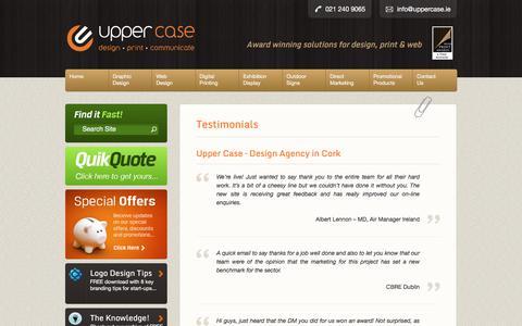 Screenshot of Testimonials Page uppercase.ie - Testimonials | Upper Case | Graphic Design - captured June 12, 2017