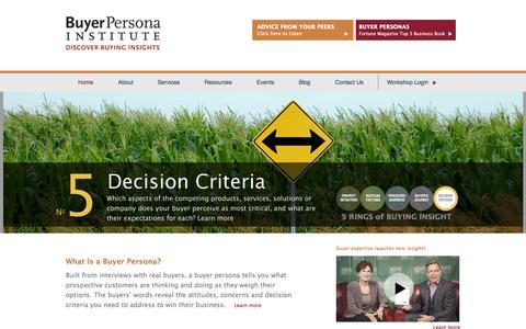 Screenshot of Home Page buyerpersona.com - Buyer Persona Institute - captured Oct. 11, 2017