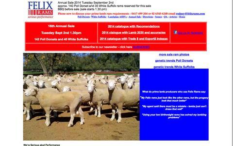 Screenshot of Home Page felixrams.com - Felix Rams - captured Sept. 30, 2014