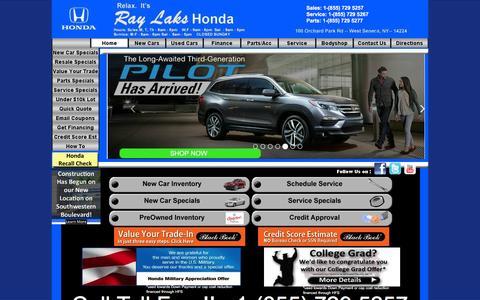 Screenshot of Home Page raylakshonda.com - Ray Laks Honda - Buffalo, NY Honda Dealer - Civic, CRV, Accords - captured Jan. 10, 2016