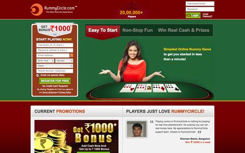 Screenshot of Home Page rummycircle.com - Rummy | Play Online Indian Rummy Free and 13 Card Games at RummyCircle.com - captured Sept. 18, 2014