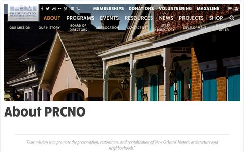 Screenshot of About Page prcno.org - About PRCNO | Preservation Resource Center of New Orleans - captured Nov. 11, 2016