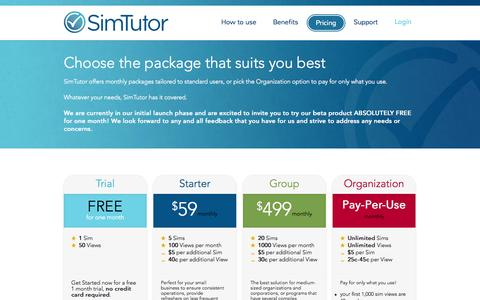 Screenshot of Pricing Page simtutor.com - SimTutor - Pricing - captured Oct. 27, 2014