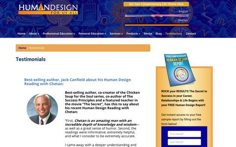 Screenshot of Testimonials Page humandesignforusall.com - Testimonials | Human Design for Us All - captured June 23, 2017