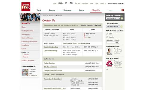 Screenshot of Contact Page Hours Page cuone.org - Credit Union ONE - Contact Us - captured Oct. 23, 2014