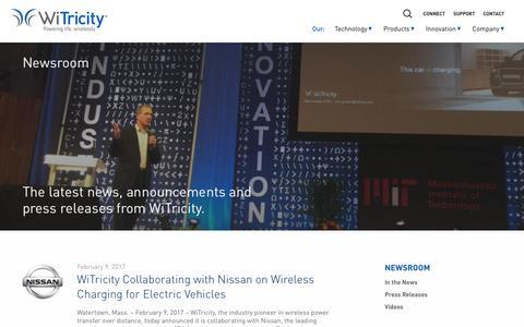 Screenshot of Press Page witricity.com - Newsroom - WiTricity - captured Feb. 11, 2017