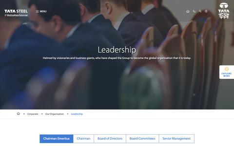 Screenshot of Team Page tatasteel.com - Tata Steel Leadership profiles & Board of Directors - captured Nov. 8, 2018
