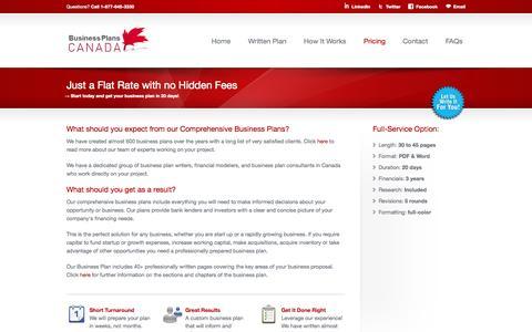 Screenshot of Pricing Page businessplanscanada.com - Affordable Business Planning - BusinessPlansCanada - captured Sept. 30, 2014