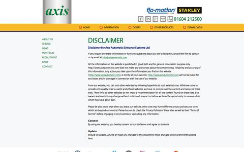 Screenshot of Terms Page axisautomatic.com - Axis Automatic Entrance Systems   Disclaimer - captured Oct. 9, 2017