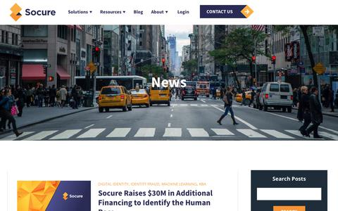 Screenshot of Press Page socure.com - News | ID Verification Services | Socure | KBA - captured Oct. 18, 2019