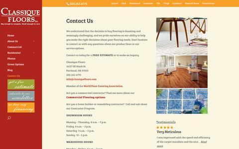 Screenshot of Contact Page classiquefloors.com - : Contact Us | Portland, Oregon | 503-255-6775 | - captured Oct. 2, 2014