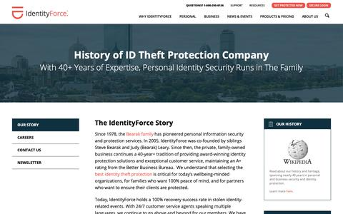 Screenshot of About Page identityforce.com - Our story | IdentityForce® - captured Nov. 6, 2018