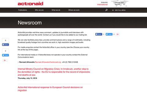 Screenshot of Press Page actionaid.org - Newsroom | ActionAid - captured July 29, 2018