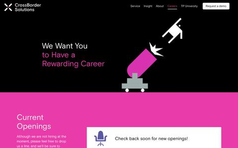 Screenshot of Jobs Page crossbordersolutions.io - Careers - Crossborder Solutions - captured July 8, 2018