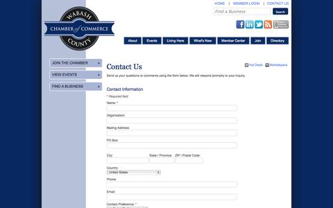 Screenshot of Contact Page wabashchamber.org - Contact Us - Wabash County Chamber of Commerce - CM - captured Oct. 27, 2014
