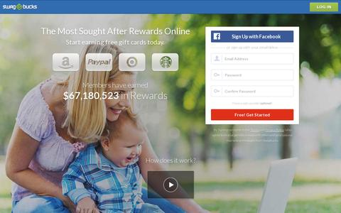Screenshot of Home Page swagbucks.com - Swagbucks - Free Gift Cards for Paid Surveys and More - captured July 17, 2014