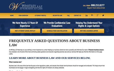 Screenshot of FAQ Page whitleylawgroup.com - FAQ | Business Lawyer in Houston, TX - captured Feb. 14, 2016