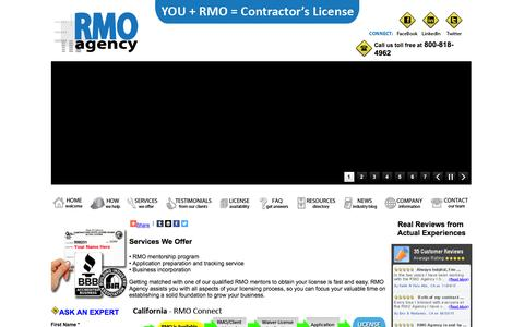 Screenshot of Services Page rmoagency.com - RMO Agency Services - Your direct link to getting your Contractor's License.  You + RMO = Contractor's License - captured Jan. 11, 2016