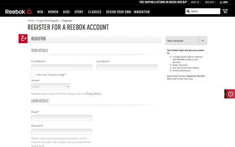 Screenshot of Signup Page reebok.com - Reebok Footwear & Apparel - Be More Human - captured Dec. 17, 2017