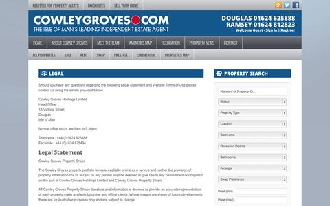 Screenshot of Terms Page cowleygroves.com - Legal | Cowley Groves - captured Oct. 3, 2014