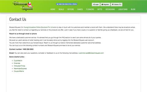 Screenshot of Contact Page blossomsquare.com - Contact Us,  call for online flower order - Blossom Square - captured Sept. 24, 2014