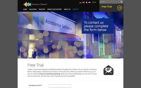Screenshot of Trial Page assistancesoftware.com - Free Trial - Assistance Software - captured Sept. 30, 2014