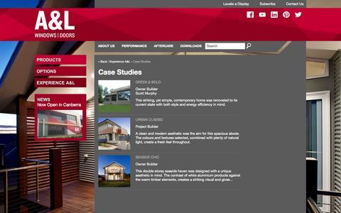 Screenshot of Case Studies Page alwindows.com.au - Case Studies - captured Oct. 3, 2014