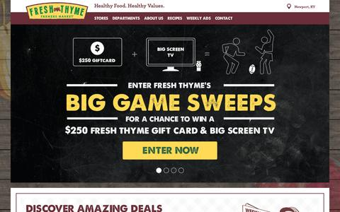 Screenshot of Home Page freshthyme.com - Fresh Thyme Farmer's Market Natural, Organic Grocery Store - captured Feb. 1, 2016