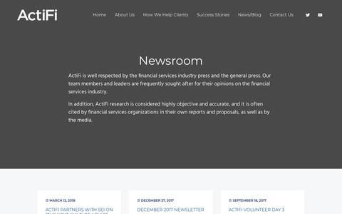 Screenshot of Press Page actifi.com - Newsroom – ActiFi - captured July 13, 2018