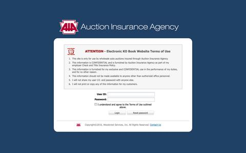 Screenshot of Login Page auctioninsurance.com - Auction Agency - captured Oct. 4, 2018