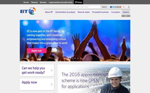Screenshot of Jobs Page btplc.com - Careers - captured Feb. 1, 2016